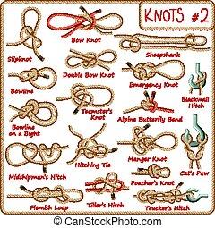jogo, de, corda, nó, hitches, arcos, curvas
