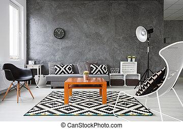 jogo, de, cores, em, sala de estar