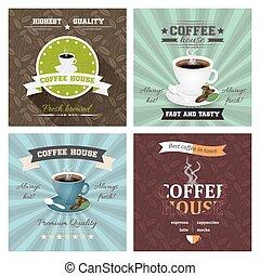 jogo, de, criativo, casa café, cartaz, vetorial,...