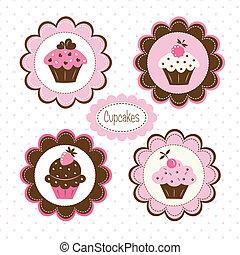 jogo, de, cupcakes, etiquetas