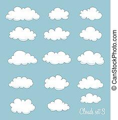 jogo, de, cute, caricatura, clouds., vetorial
