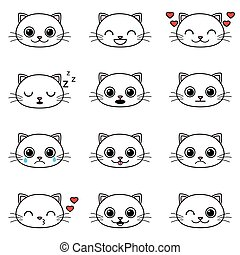 jogo, de, cute, caricatura, gato, emoticons
