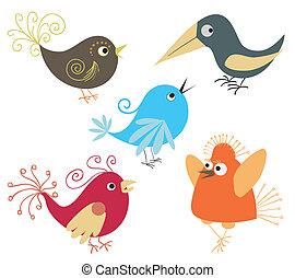 jogo, de, cute, pássaros