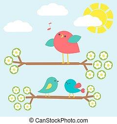 jogo, de, cute, pássaros, ligado, springtime, ramos