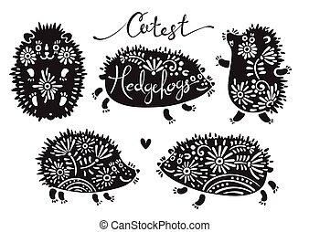 jogo, de, cutest, hedgehogs, com, flowers.