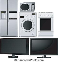 jogo, de, de, eletrodomésticos lar