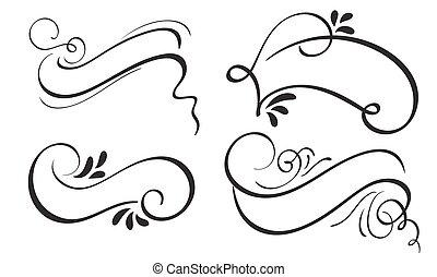 jogo, de, decorativo, caligrafia, fita, quadro, bandeira, e, fronteiras, art., lettering, vetorial, ilustração, eps10