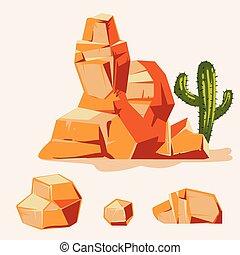 jogo, de, deserto, rocks., caricatura, isometric, 3d, apartamento, style., jogo, de, diferente, pedregulhos