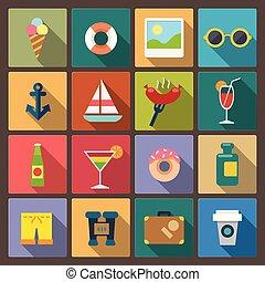 jogo, de, dezesseis, recreação, ícones