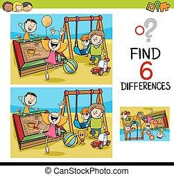 jogo, de, diferenças, com, crianças
