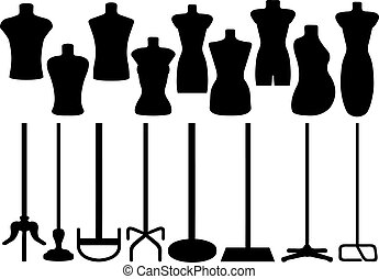 jogo, de, diferente, alfaiate, mannequin