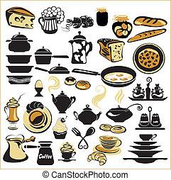 jogo, de, diferente, alimento, -, pão, torta, biscoito,...