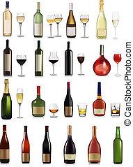 jogo, de, diferente, bebidas, e, garrafas