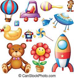 jogo, de, diferente, brinquedos