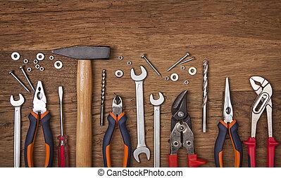 jogo, de, diferente, ferramentas