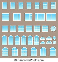 jogo, de, diferente, janelas