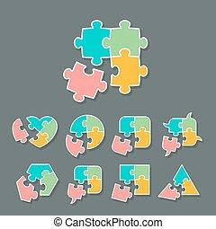 jogo, de, diferente, quebra-cabeça, pedaço, formas