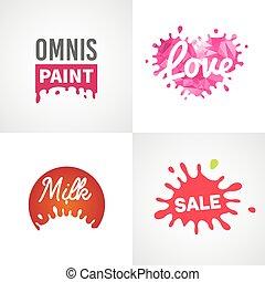 jogo, de, diferente, splatter, vetorial, projete elementos, leite, venda, pintura, amor