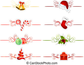 jogo, de, diferente, tradicional, natal, elementos, branco
