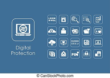 jogo, de, digital, proteção, ícones simples