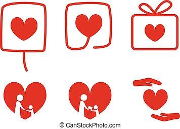 jogo, de, doação, ícones, com, amor, conceito, vetorial