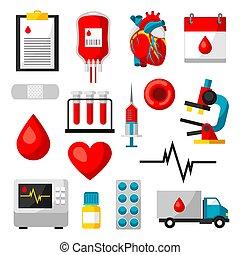 jogo, de, doação sangue, items., exame médico saúde, cuidado, objetos