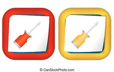 jogo, de, dois, ícones, com, papel, e, chave fenda