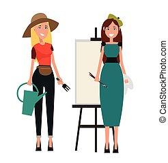 jogo, de, dois, women., jardineiro, e, pintor, apartamento, desenho