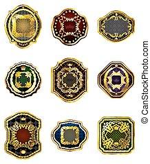 jogo, de, dourado, decorativo, ornate, golden-framed, etiquetas, ligado, um, branca, experiência.