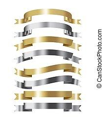 jogo, de, dourado, e, prata, fita, cobrança, 3d, efeito, com, lugar, para, texto, vetorial, isolado, branco
