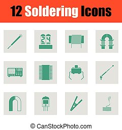 jogo, de, doze, soldering, ícones