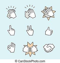 jogo, de, duas mãos, icons., aperto mão, clapping, applause., vetorial, cor, ilustração