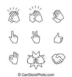 jogo, de, duas mãos, icons., aperto mão, clapping, applause., vetorial, ilustração