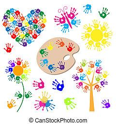 jogo, de, elementos, para, desenho, com, handprints