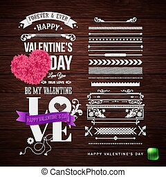 jogo, de, elementos, para, seu, dia dos namorados, cartão, design.