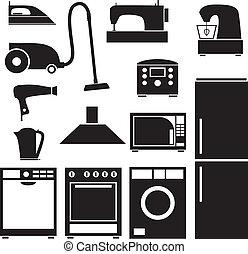 jogo, de, eletrodomésticos lar