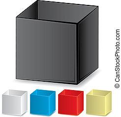 jogo, de, em branco, 3d, coloridos, caixas, vetorial, ilustração