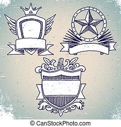 jogo, de, esboço, vindima, escudo, etiquetas
