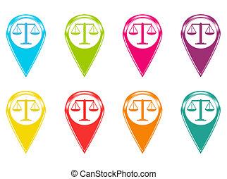 jogo, de, escala justiça, ícones