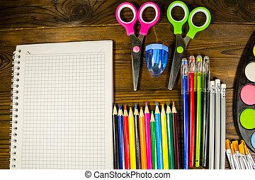 jogo, de, escola, papelaria, supplies., apoie escola, conceito