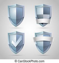 jogo, de, escudo, ícones