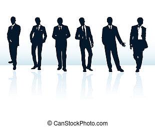 jogo, de, escuro azul, vetorial, homem negócios, silhuetas,...