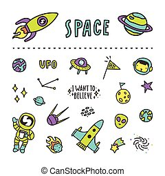 jogo, de, espaço, stickers.