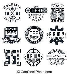 jogo, de, esportes, serviço carro, e, militar, emblemas