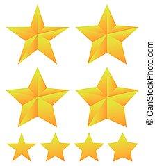 jogo, de, estrela, formas, com, diferente, thickness.