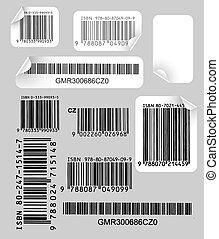 jogo, de, etiquetas, com, códigos barras