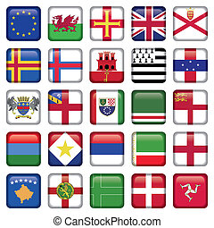 jogo, de, europeu, quadrado, bandeira, ícones