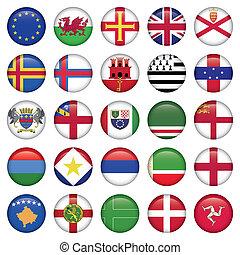 jogo, de, europeu, redondo, bandeira, ícones