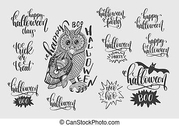jogo, de, feliz, dia das bruxas, mão, lettering, frases
