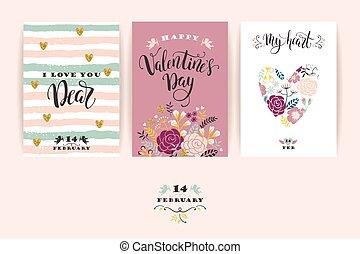 jogo, de, feliz, dia dos namorados, cartões.